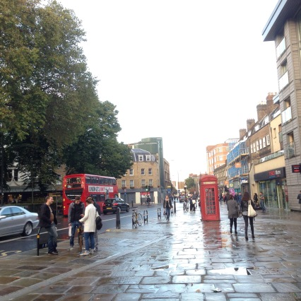 Slick sidewalks after a rain