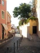 Magical winding lanes in Alfama, the neighborhood below Castelo St. Jorge.