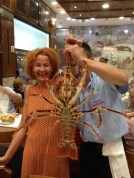 Huge lobsters were also brought to your table. We didn't order one, but this table ordered two and got to pose with this guy before he was grilled and his friend was steamed.