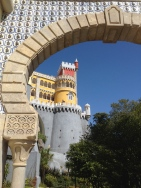 Pena Palace is painted with reds, yellows, and pale blues. The history, you ask? Not sure...we admittedly didn't read much on this trip.