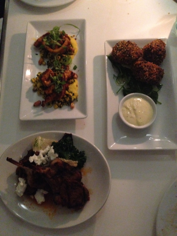 Lamb Chop. Pea and Mint Croquette. Octopus and Polenta. Splurge on dessert!