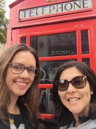 Iconic phone booth near Westminster Abbey.