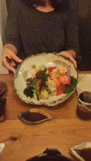 ZenMondo's Chirashi. I believe the tea mug and the dipping sauce plate were both done by the owner.