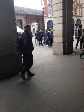 The queue at Covent Garden. They really need to allow people to sign up online.