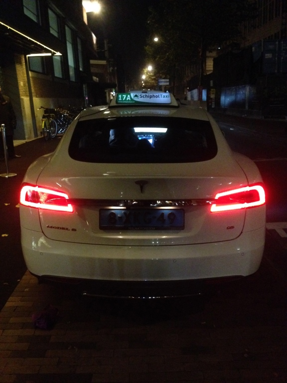 Tesla cab to the center of Amsterdam.