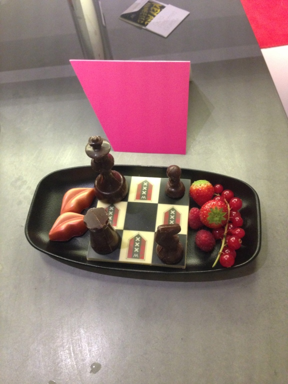 Complimentary chocolate chess welcome in our room.
