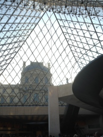 The glass pyramid from inside the Louvre. We didn't even have to wait for tickets!