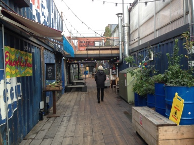 Brixton Box Market- everything is made of box cars to house businesses and restaurants.