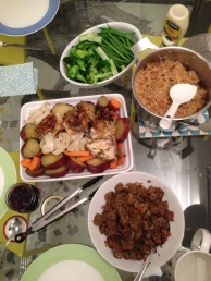 Our Thanksgiving meal! Roasted chicken, stuffing with bread from Paris, pilaf, my mom's homemade chutney and steamed veggies.