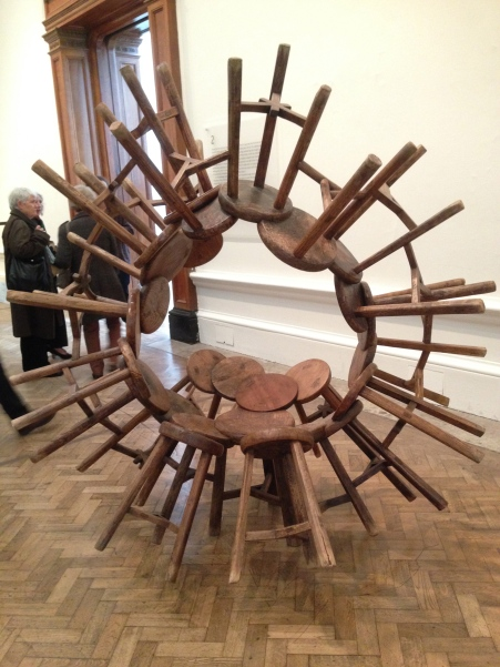 More from Ai Weiwei. How can this be made of something so useful yet now be useless? He uses well known techniques and sometimes sacred materials even though we can never use these items in a practical way.