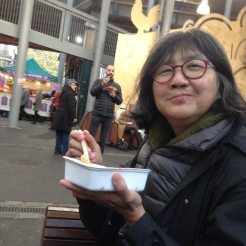 Trying Koshari, an Egyptian dish with lentils, macaroni noodles, and fried onions, at Borough Market.