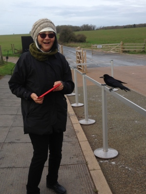We almost missed the tram back to the Stonehenge visitor center because she was so into taking crow pictures. The number of sheep, and water fowl on her ipad are also probably in double digits.