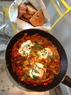 Home made shakshuka for Sunday breakfast. Corey and I had it ready when she woke up.