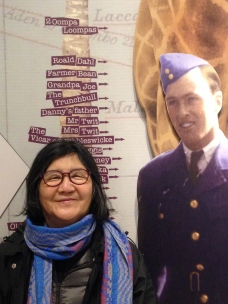 "Roald Dahl was 6'5""- how do you measure up? My mom and the Vicar of Nibbleswicke (Roald Dahl Museum)."