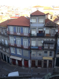 Azulejos tiles on the flats below.
