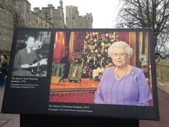The image on the left is Queen Elizabeth's first Christmas broadcoast in 1952, and the image on the right was her broadcast from 2014.