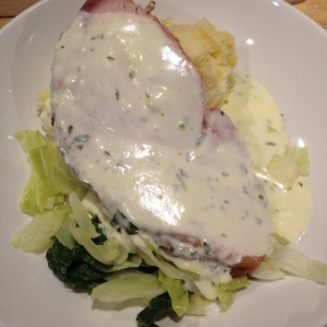 Bacon Cream Dish- my dad's fish and chips were much better