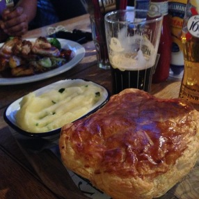Meat pie and one pint for Caity! Go Girl!