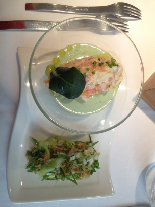 Salmon mousse and cucumber salad starter!