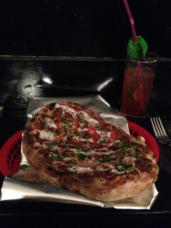 Black Axe Mangal flatbread and a free shot of Jamison for naming dropping Nick Wong