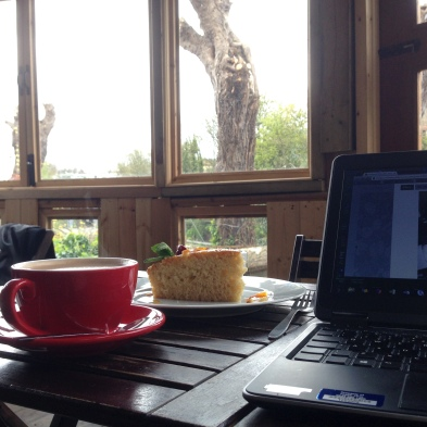 Data entry at The Fig Tree Cafe on St. Paul's Road