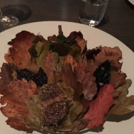An Autumn Plate: The leaves were taped down so we didn't eat the wrong thing. We had treats at our 6 o'clock, 9, 12, and 3 o'clock. Fruit leather leaves, fried leaves with ants...wow.