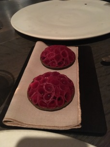 Radish Pie: Someone rolled these individual slices of radishes into these seaweed based tartlets. The radishes are very red because they are soaked in beet juice.