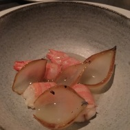 Langoustine, Onion and Lavender: Corey's favorite dish of the night! Lavender oil- who knew we should be cooking with it!