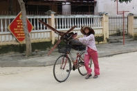 Everything can be transported on a bike in this country.