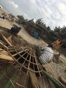 Repairs on the beach huts.