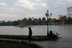 Walk along the Hoan Kiem lake. We wish we had rented bikes at some point here.
