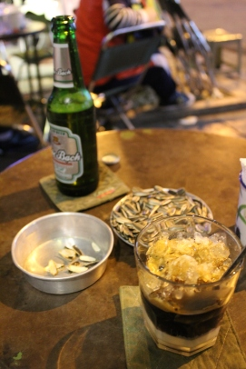 Cong Caphe/Cafe: sunflower seeds are a common snack when having Vietnamese coffee. This cafe is styled in a rustic-chic military setting, if that is a thing.