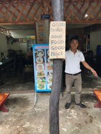Phet welcomes us to this small shop. Check the sign out- it was true!