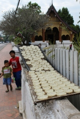 Rice cakes left out at temples to honor those who've passed on