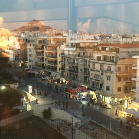From the top floor of the Acropolis museum