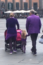 This family was dressed entirely in purple. We wondered what the colors are for the other days of the week.