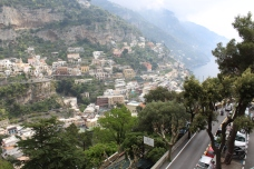 View from a cliffside looking out onto Positano