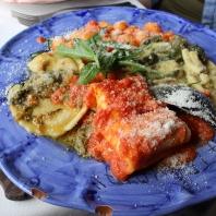 Pasta plate: lasagna, gnocchi, ravioli and the priest chocker pasta