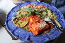 Pasta plate: lasagna, gnocchi, ravioli and the priest chocker pasta