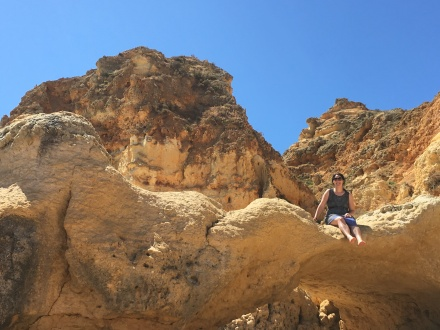 She jumped down from this rock after the pic! Don't worry- smooth landing.