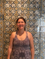 She wore the perfect dress for the tile museum.
