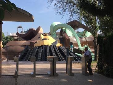 Gulliver's Travels inspired playground. Kids were Lilliputians climbing all over Gulliver!