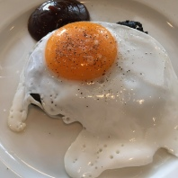 Blood Cake, Fried Egg and Brown Sauce. Get it