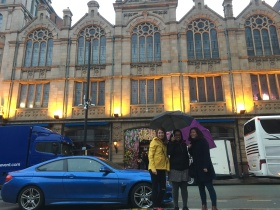 This building was really grand, but not sure what it is! Here are some of my colleagues (Hannah- yellow jacket; Jess- middle; Rebecca- purple umbrella)