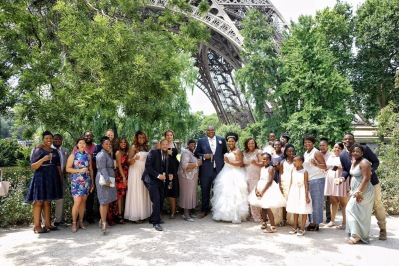Wedding Party and Guests after the ceremony