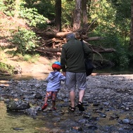 Walking in the creek with Grandad