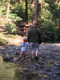 Walking in the creek with Grandad