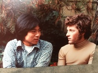 Dad shares his scrapbooks. Uncle Gary and Dad in Mill Valley (1976)