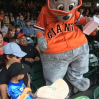 Lou Seal making his way to my dad.