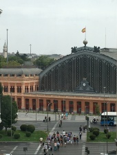View of the Atocha station from the Reina Sofia glass lift/elevator.